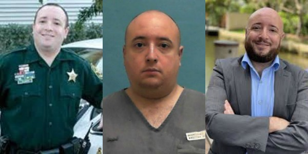 Three photos of Jonathan Bleiweiss, as a BSO deputy, prisoner and justice center president