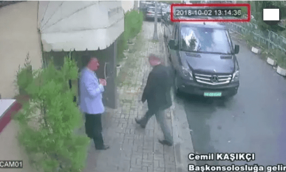 Jamal Khashoggi entering the Saudi consultate in Istanbul