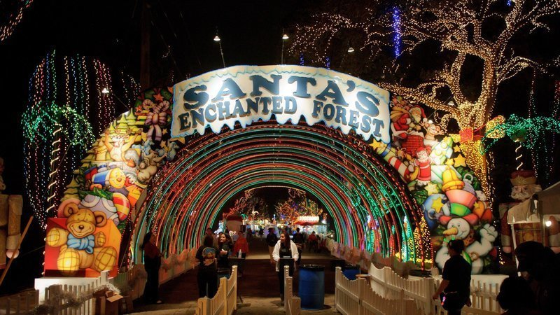 Glittery, multi-colored archway entrance to Santa's Enchanted Forest