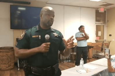 Sheriff Tony speaking at the Pembroke Pines Democratic Club last August.