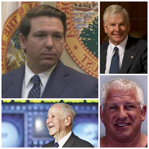 Gov. Ron Desantis and headshots of campaign donors who got no-bid state contracts, counterclockwise from bottom left, Philip Frost, Gary Kompothecras and Randal Ringhaver