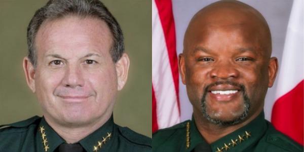 Broward Sheriff Gregory Tony, right, and former Sheriff Scott Israel