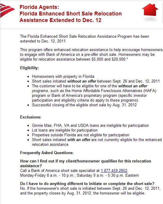 Breaking News Bank Of America Extends Enhanced Florida Short Sale Relocation Program