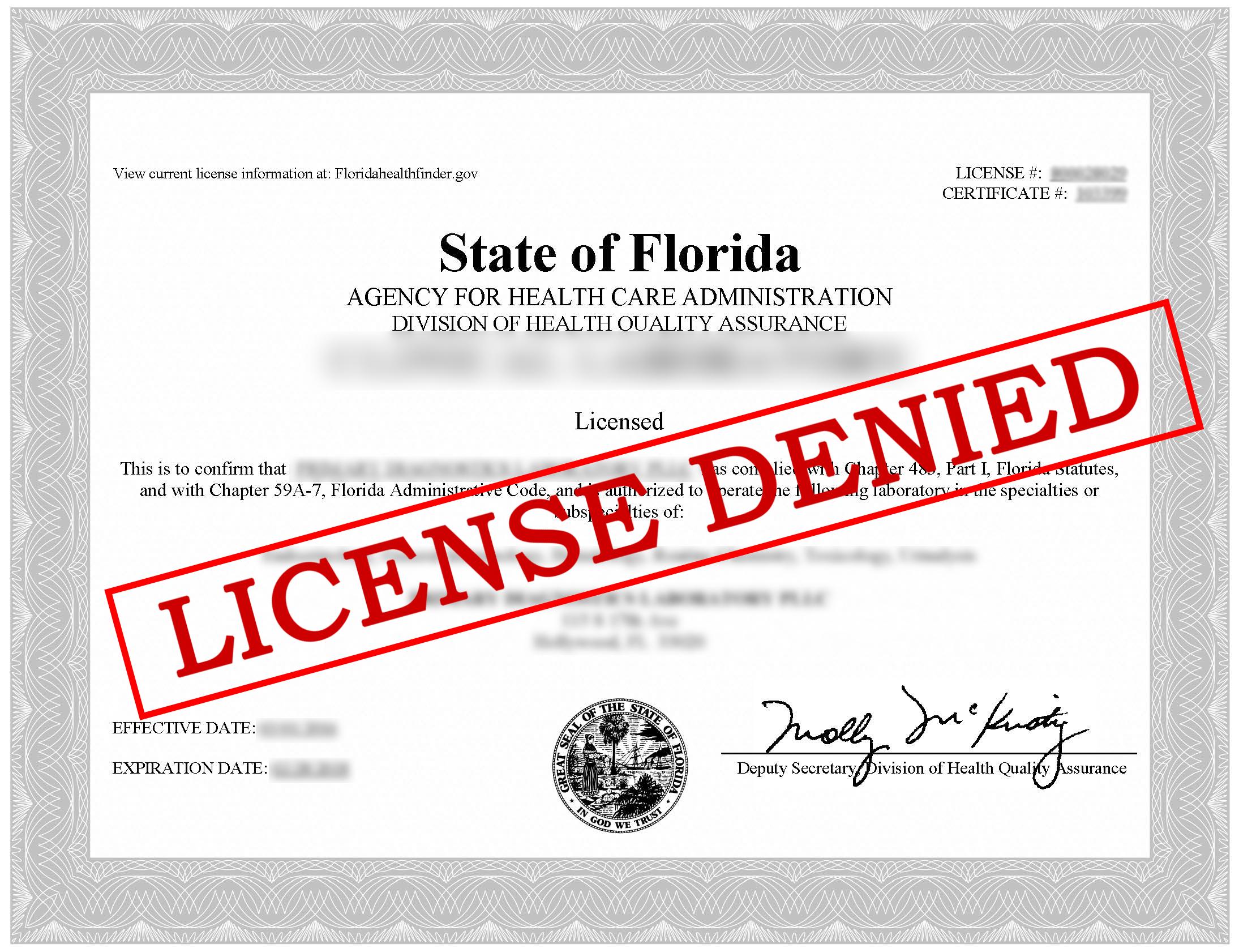 Denial of License by AHCA - Florida Health Care License