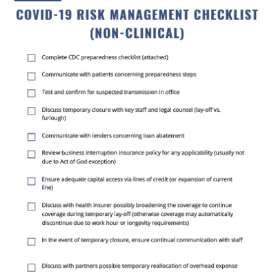 covid-19 risk management checklist