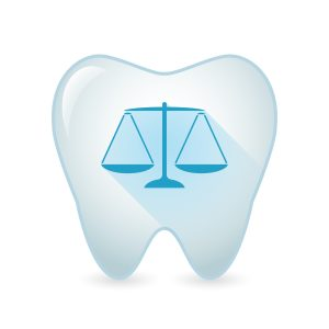 Illustration of an isolated tooth icon with a weight scale