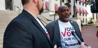 Neil Volz and Desmond Meade of the Florida Rights Restoration Coalition on March 12