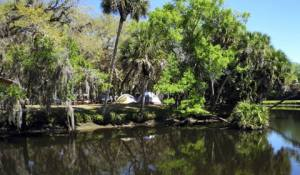 Tent camping site at Camp Venice near Sarasota