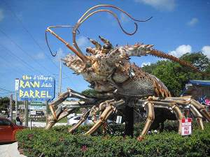 Giant lobster marks the entrance to Rain Barrel Village in the Florida Keys