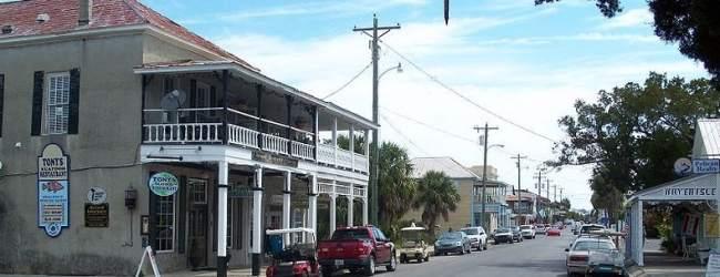 The main street on Cedar Key