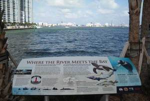 Sign at Miami Circle Park on Miami River