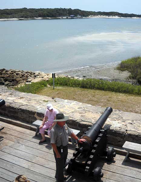 Ranger on gun deck at Fort Matanzas near St. Augustine