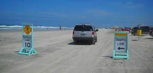 Driving on the beach in Daytona Beach, Florida