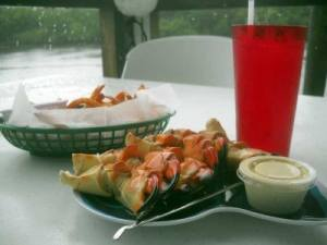 Stone crabs on the waterfront in Everglades City