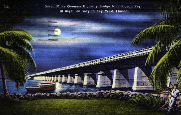 Postcard of Old Seven Mile Bridge at night