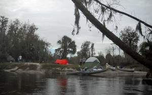Camping on Peace River, Florida, canoe trip