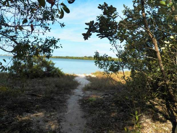 Path to a sandy beach on Munyon Island, MacArthur Beach State Park