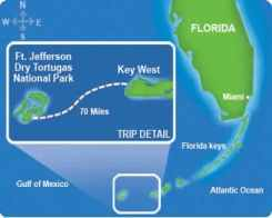 Sea route to Fort Jefferson from Key West