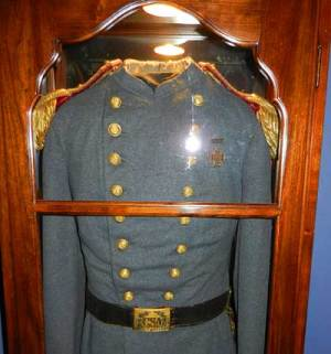Gamble Mansion visitor center exhibits Confederate uniform