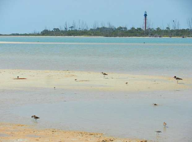 Anclote Key and lighthouse from adjoining sandbar