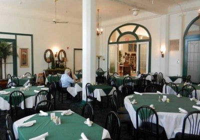 Dining room of historic Hotel Jacaranda in Avon Park