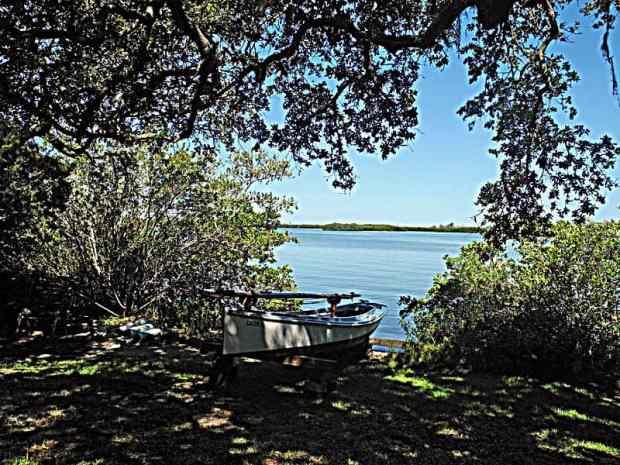 Skiff on the shore of Little Sarasota Bay