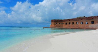 Beach at the Dry Tortugas National Park: Campsites are steps away. Terrific snorkeling is right off this beach along the walls of the fort.
