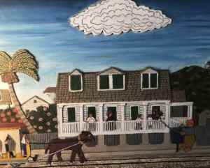 Key West folk artist Mario Sanchez captured the Oldest House in this painting/sculpture on display inside the home. (Photo: Bonnie Gross)