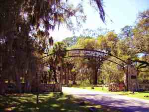 The entrance to Dade Battlefield Historic State Park.