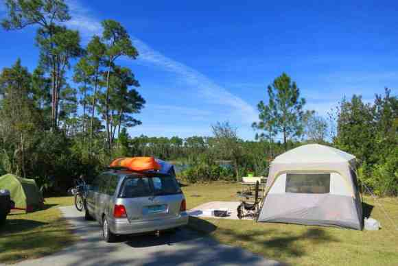 Campsite at Long Pine Key in Everglades National Park. The sites are large, with good privacy. Some, like this, have lake views.