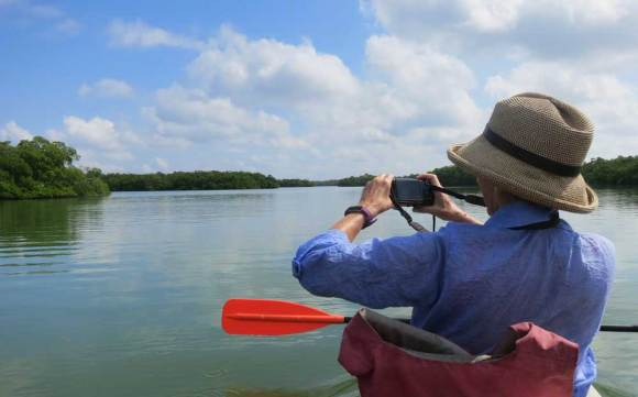 Kayaking to Mound Key State Archaeological Park.