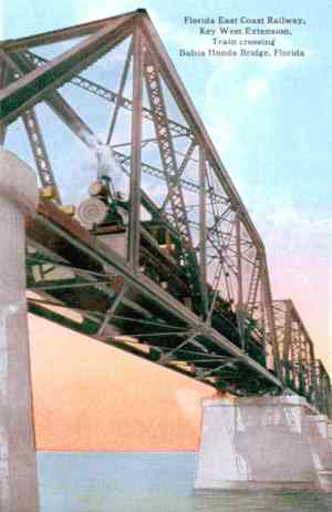 A steam train crossing the Bahia Honda Bridge prior to 1935. Photo via Florida Memory Project.