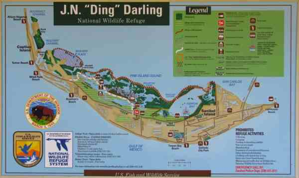 Map of 'Ding' Darling National Wildlife Refuge on Sanibel Island