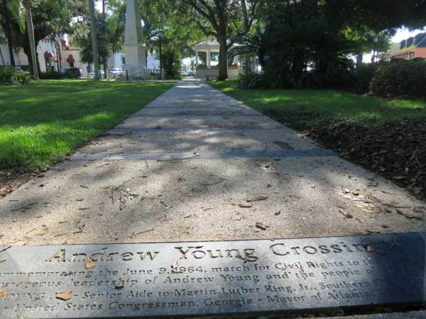 St. Augustine's Andrew Young Crossing marks a place where a hateful mob attacked a peaceful Civil rights march.