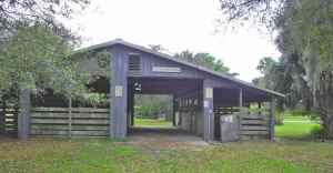 Stables in the equestrian camping area at Dupuis Wildlife Management Area