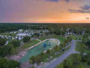 aerial view of Wekiva Falls RV Resort at sunset