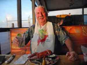 Bob Rountree enjoys lobster at the Baja