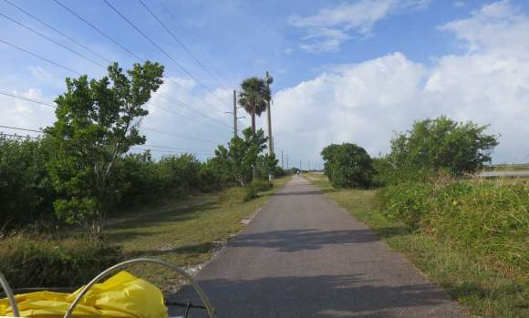 View over the handlebars on the Florida Keys Overseas Heritage Trail.