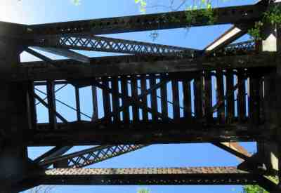 Looking up into the old railroad trestle. (Photo: Bonnie Gross)