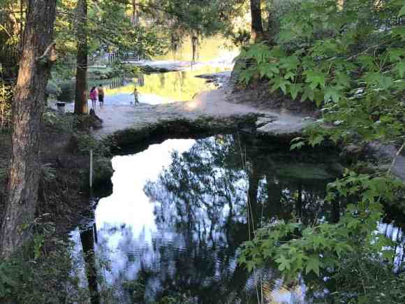 Lafayette forms two beautiful pools of water, each lined with limestone rocks, surrounded by hard packed earth and separated by a natural limestone bridge. (Photo: Bonnie Gross)