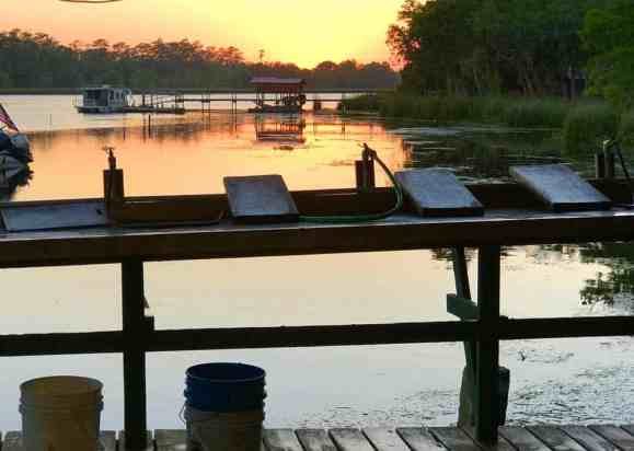 Sunset at the historic Shell Island Fish Camp. (Photo: Bonnie Gross)