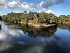 The Withacoochee and Suwannee rivers merge at Suwannee River State Park.