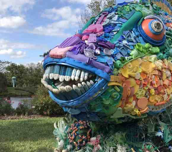 Priscilla the Parrot Fish is made out of plastic toys, buoys, toothbrushes and other recycled plastic garbage picked up on beaches. The sculpture is one of 10 on exhibit at Mounts Botanical Garden until June 3, 2018.