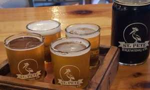 A flight of craft beers at St. Pete Brewing.