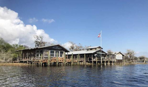 Cabins on stilts near the boat launch at Blue Cypress Lake. (Photo: Bonnie Gross)