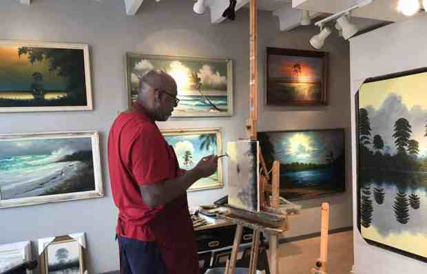The art of the Florida Highwaymen is featured in this downtown gallery in Vero Beach, owned by the son of a Highwayman painter (Photo: Bonnie Gross)