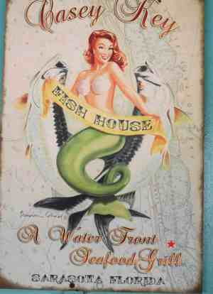 Mermaid sign at Casey Key Fish House.