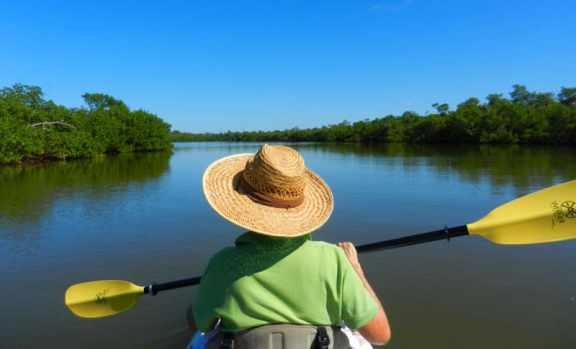 Kayaking Sanibel and Captiva: Buck Key kayak trail starts with a crossing Lloyd's Lagoon.