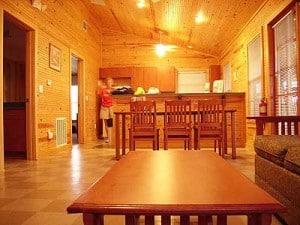 Interior of cabin at Lake Louisa