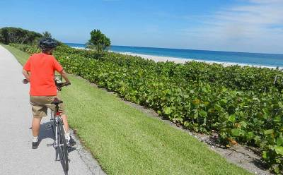 Bike lane along A1A in Boca Raton occasionally gets a stunning view of the ocean.